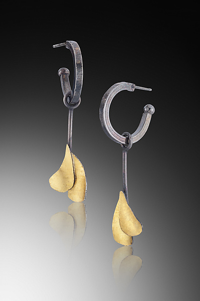 Hoop Earring with 2 Gold Leaves - Gold & Silver Earrings - by Lori Gottlieb