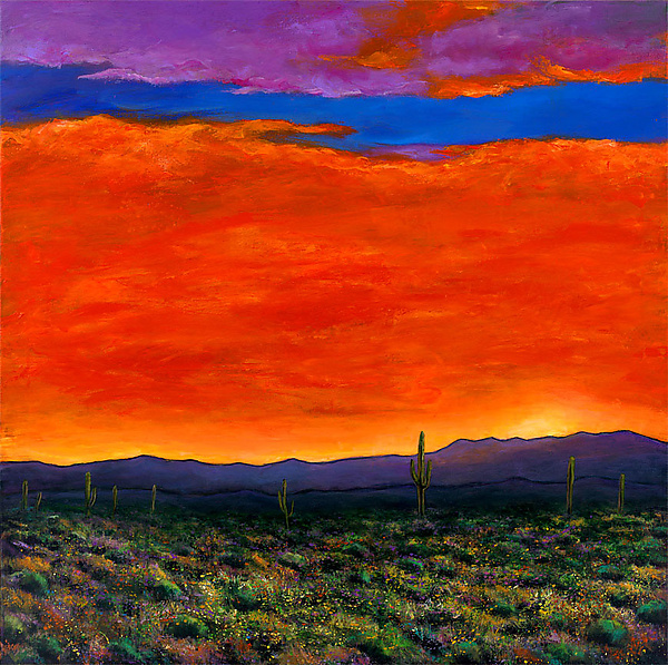 Saguaro at Sunset - Giclee Print - by Johnathan Harris