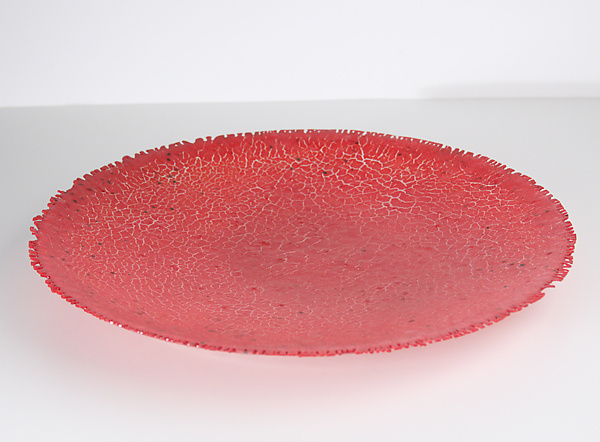 Red Crackle Bowl - Art Glass Bowl - by Marianne Thompson