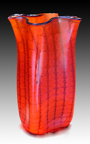 Opal Reptilian Bag Vase - Art Glass Vase - by Thomas Philabaum