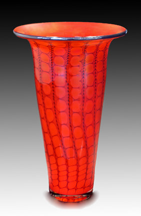 Opal Reptilian Trumpet Vase - Art Glass Vase - by Thomas Philabaum