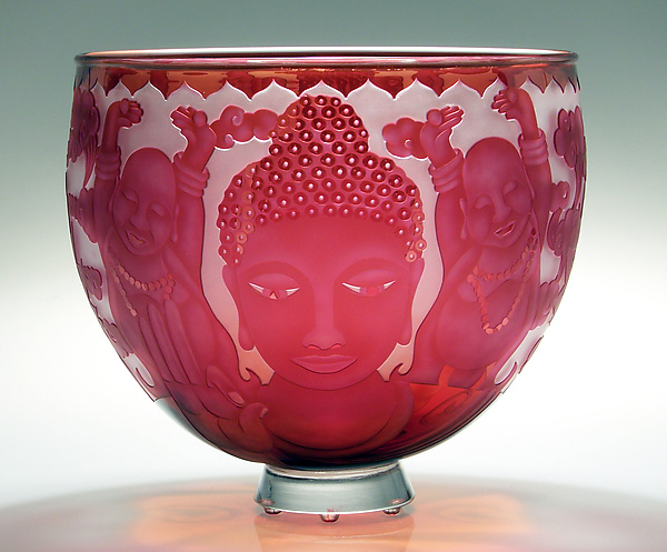 Buddha in Abhaya Mudra - Art Glass Bowl - by Mary Mullaney and Ralph Mossman