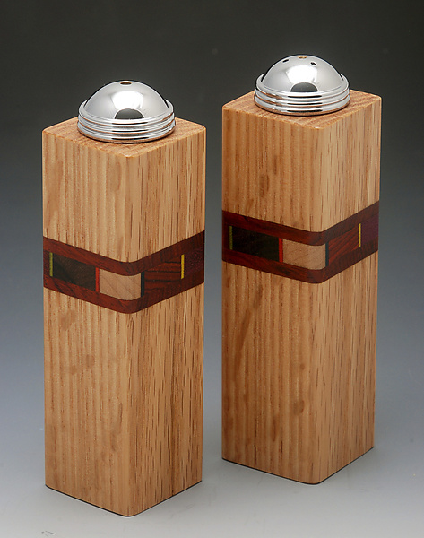 Bold Mosaic Salt and Pepper Shakers - Wood Salt and Pepper Shakers - by Martha Collins