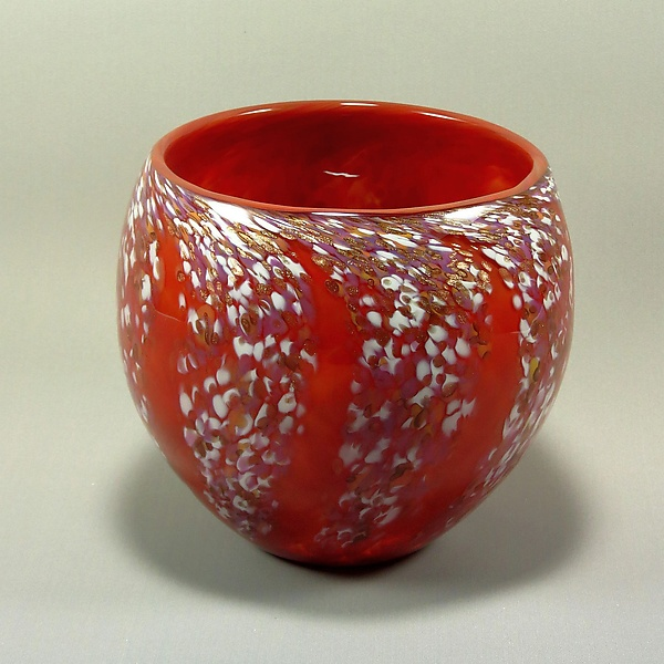 Round Wisteria Bowl - Art Glass Bowl - by Mark Rosenbaum