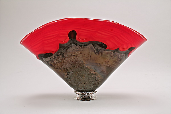 Red Optic Black Overlay Bowl - Art Glass Bowl - by Dierk Van Keppel