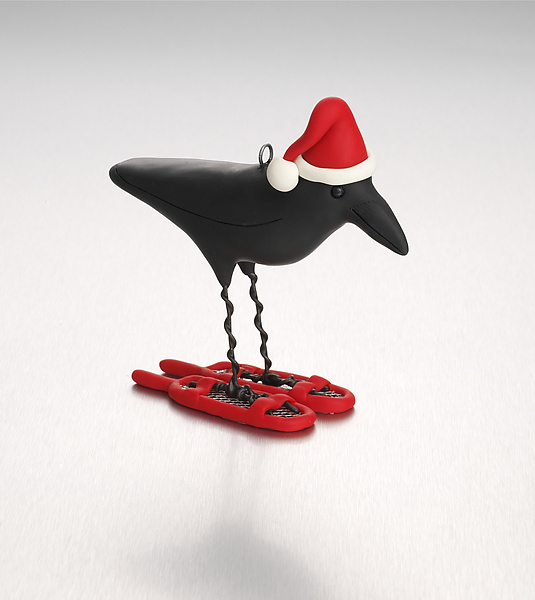 Snow Crow - Polymer Clay Ornament - by Kamilla White