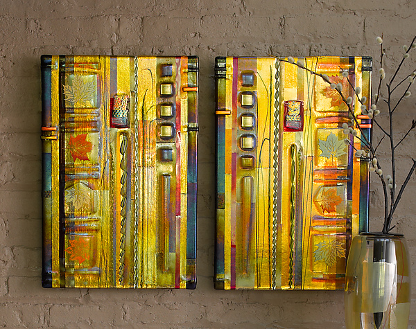Amber Leaf Panels - Art Glass Wall Art - by Mark Ditzler