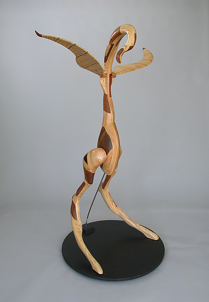 Standing Bird - Wood Sculpture - by Charles Adams