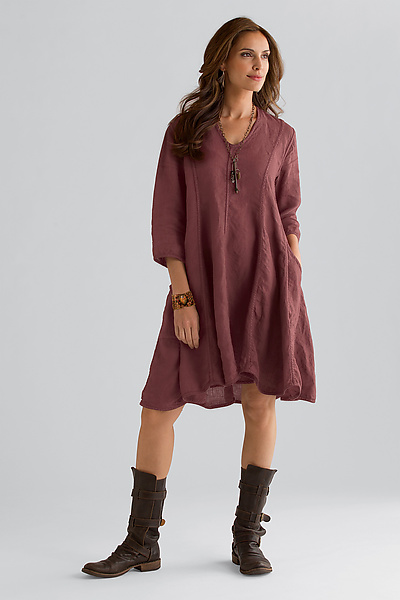 Trapeze Linen Dress - Linen Dress - by Cynthia Ashby