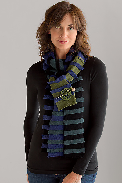 Ripple Stripe Scarf - Wool Scarf - by Andrea Geer