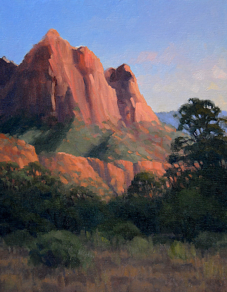 Last Light on Zion Cliffs - Oil Painting - by Kathy O'Leary