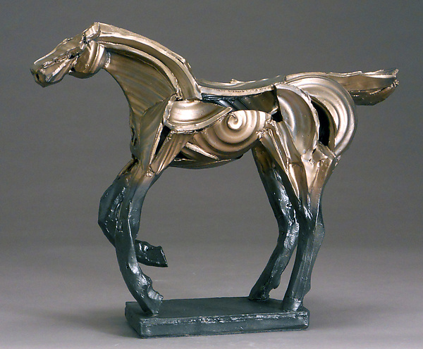 Bronze Running Horse - Ceramic Sculpture - by Jeri Hollister