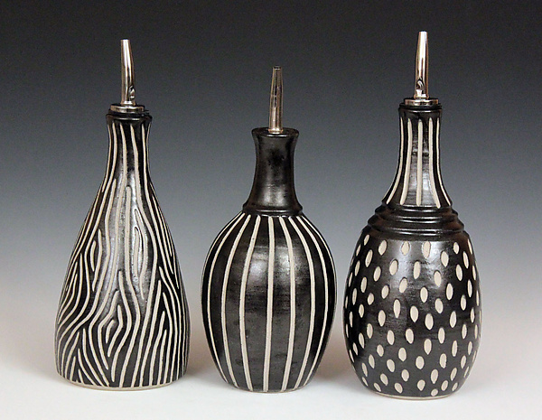 Round Oil Bottles - Ceramic Bottle - by Larry Halvorsen