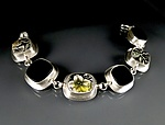 Silver, Glass, & Ceramic Bracelet by Amy Faust