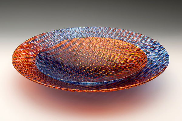 Red And Blue Tapestry Bowls By Richard Parrish Art Glass
