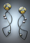 Gold, Silver, & Pearl Earrings by Judith Neugebauer