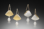 Gold, Silver & Pearl Earrings by Thea Izzi
