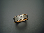 Gold, Stone & Titanium Wedding Band by Tavia Brown
