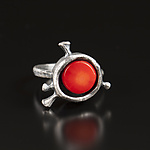 Silver & Coral Ring by Aleksandra Vali