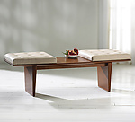 Wood & Leather Bench by Ken Reinhard