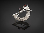 Silver & Pearl Brooch by Chi Cheng Lee