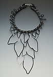 Silver & Rubber Necklace by Lonna Keller