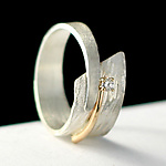 Gold, Silver & Stone Wedding Band by Dagmara Costello