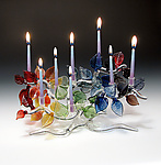 Art Glass Menorah by Bandhu Scott Dunham