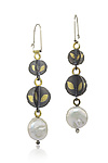 Gold, Silver, & Pearl Earrings by Christine MacKellar